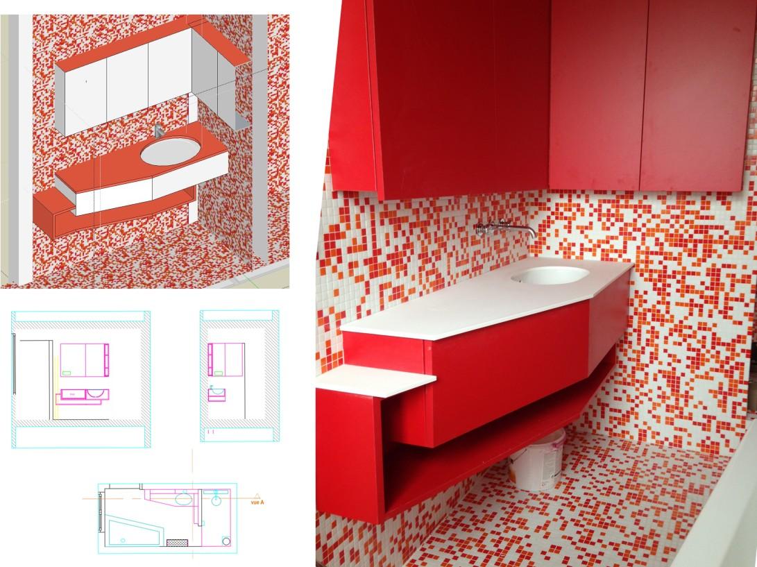 meuble sdb rouge N